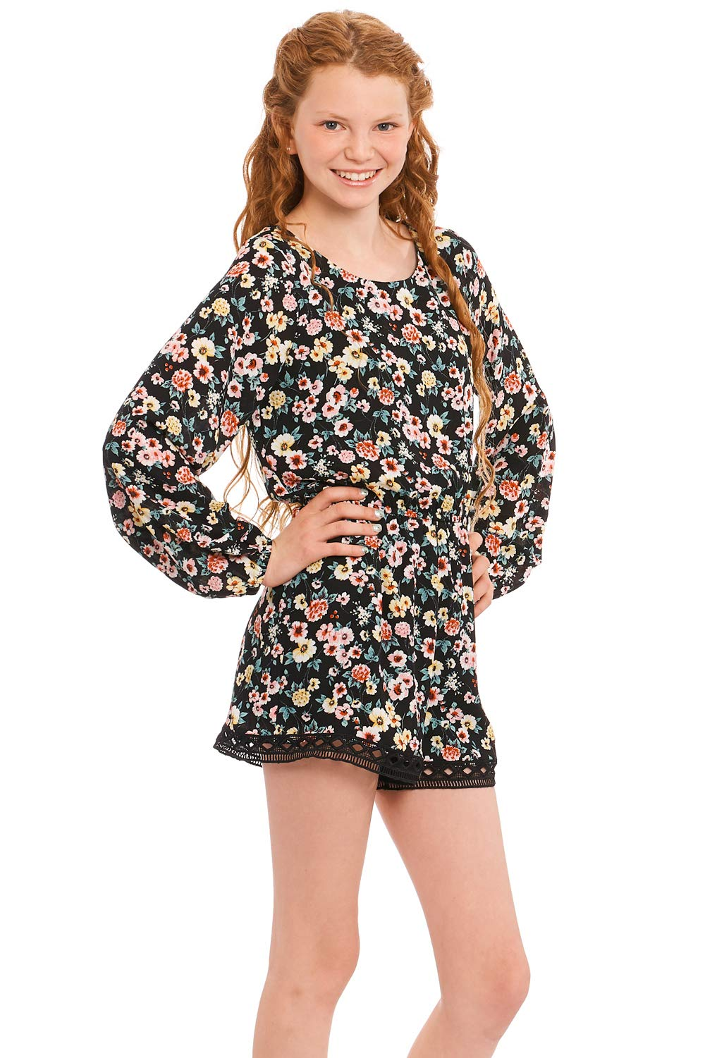 Truly Me, Girls' Long Sleeve Woven Romper in Floral Print, Size 7-16 (12, Black Floral) by Truly Me