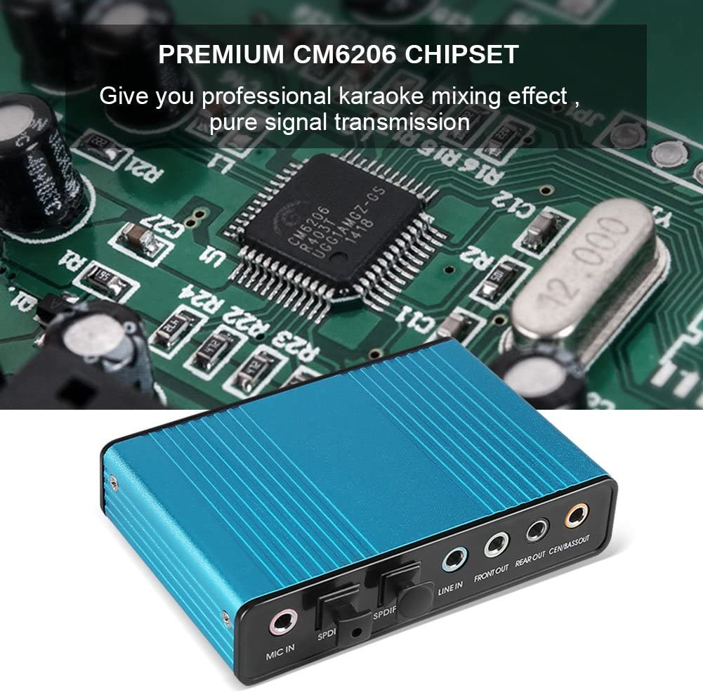External 6 Channel 5.1 Audio USB Optical Sound Card Adapter Compatible with Laptop Computer USB Sound Card