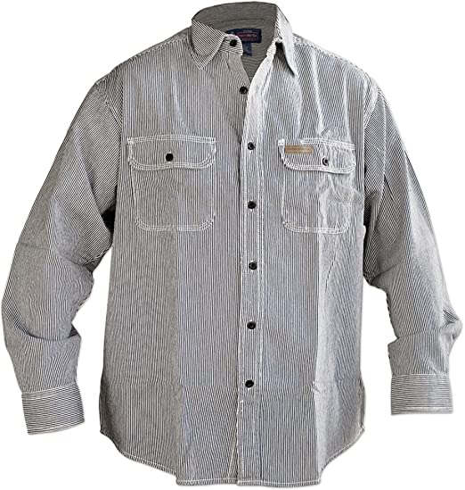 1920s Style Mens Shirts | Peaky Blinders Shirts and Collars Hickory Shirt Co. Long Sleeve Button Shirt- Tall Length LARGE $31.29 AT vintagedancer.com