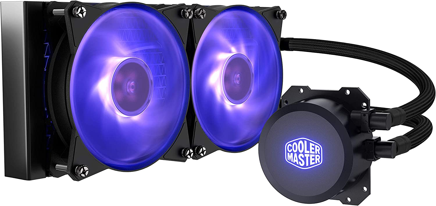 Cooler Master MasterLiquid ML240L RGB Close-Loop CPU Liquid Cooler, 240mm Radiator, Dual Chamber RGB Pump, Dual MF120R RGB Fans w/RGB Lighting Sync for AMD Ryzen/Intel 1151/2066