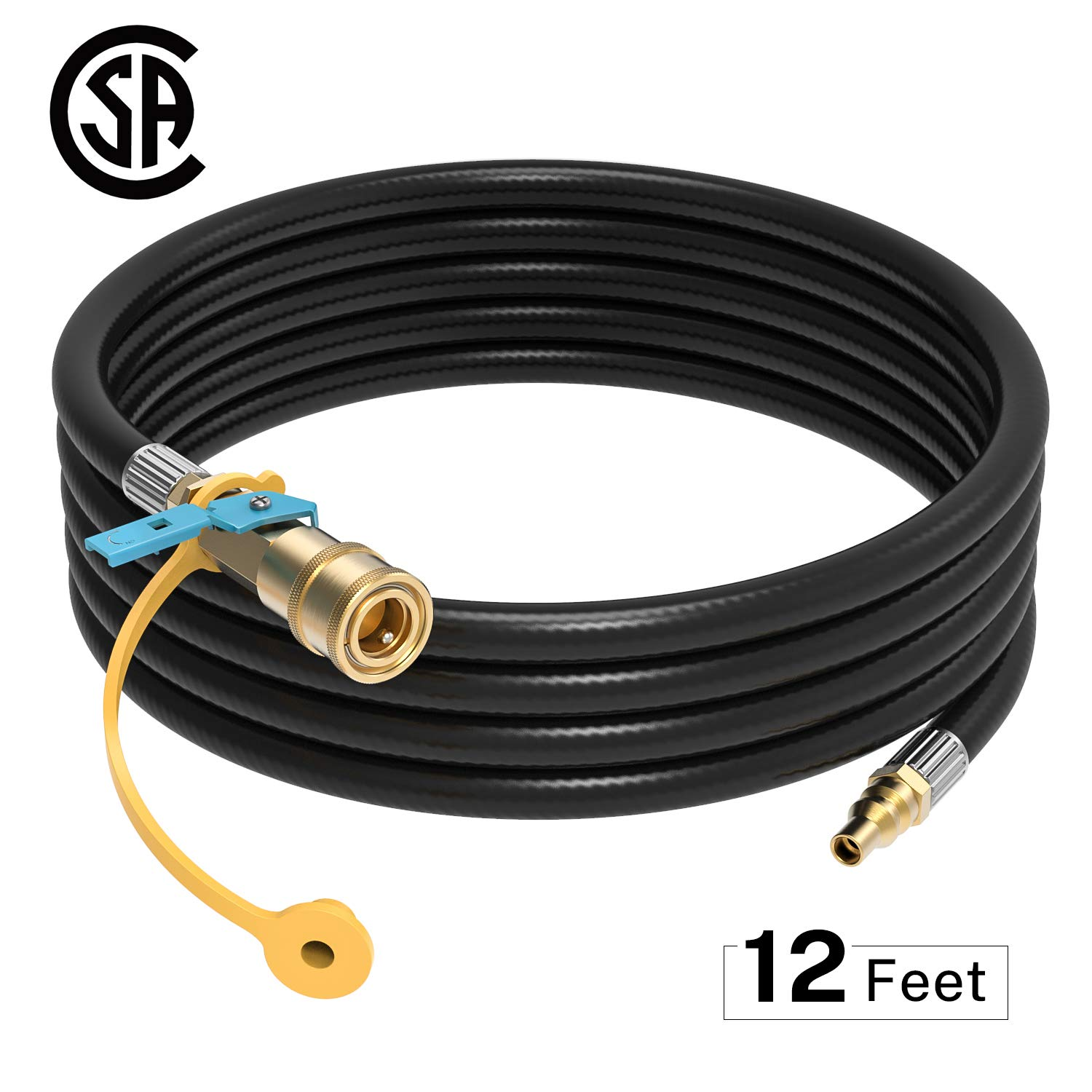 Kohree RV Propane Hose 12FT 1/4inch RV Quick Connect Propane Hose Quick Disconnect Propane Hose Extension with Shutoff Valve Male Full Flow Plug for Low Pressure Grills