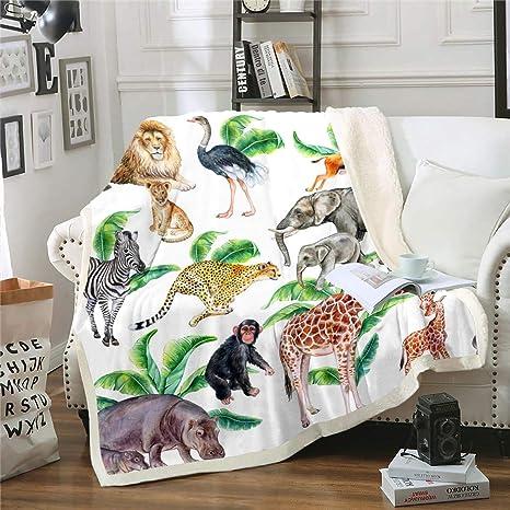 Amazon Com Tropical Sherpa Blanket Giraffe Elephant Zebra Fleece Throw Blanket For Kids Boys Girls Palm Leaf Plush Blanket Safari Wild Zoo Animal Fuzzy Blanket For Sofa Bed Couch Baby 30x40 Inch Home