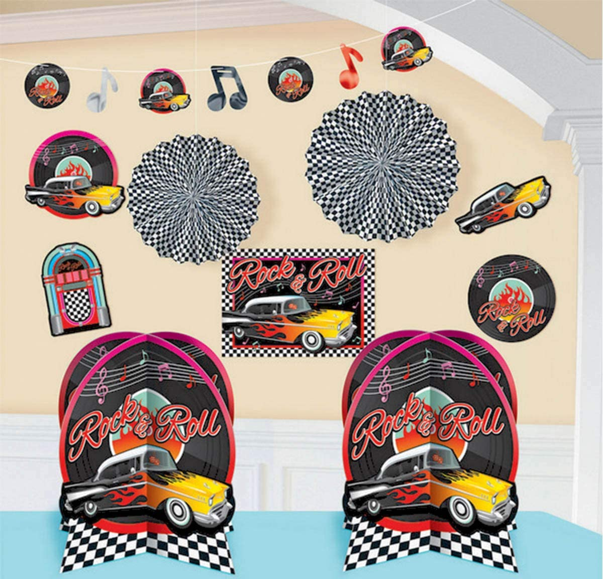 amscan Nifty 50's Theme Party Rock & Roll Decorating Kit (10 Piece), Multi Color, 15.7 x 10