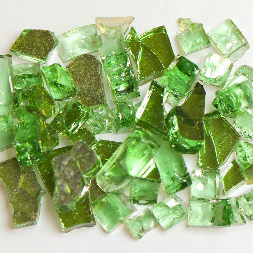 My Fireplace Glass - 50 Pound Terrazzo Chip Fireplace Glass - Size 2, 1/4 - 3/8 Inch, Green Reflective