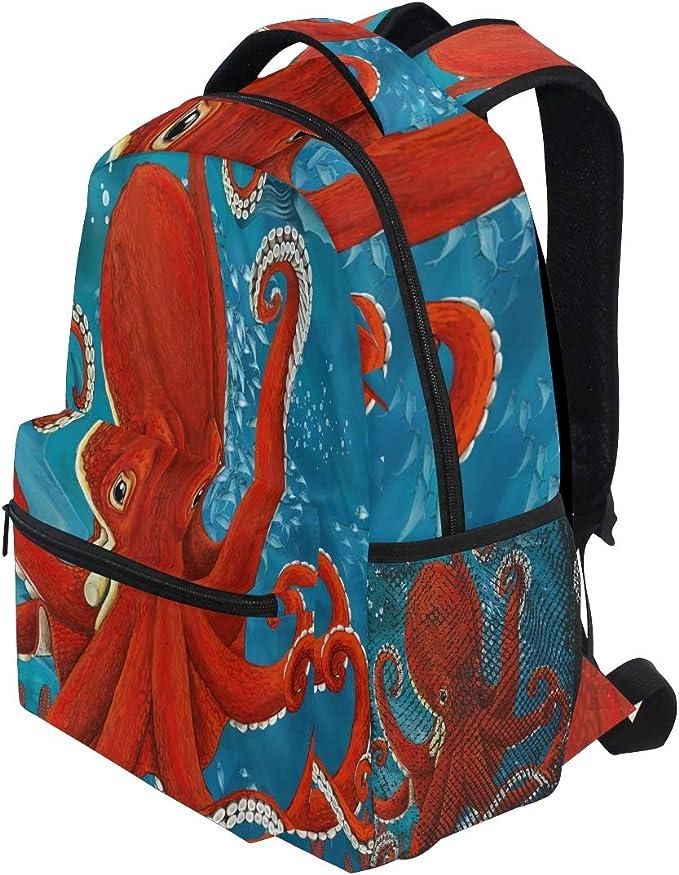 School Backpack Ocean Octopus Sea Animal Student Rucksack Boys Girls Daypack