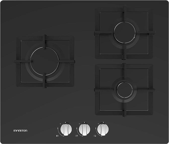 Opinión sobre Placa DE Gas 3 Fuegos INFINITON GGMCI-315 Acabado Cristal (Encendido electronico, Controles Inferiores, Facil Limpieza) (3 Fuegos)