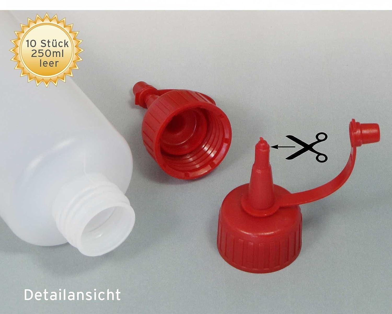 10 Octopus botellas de plástico de 250 ml, botellas de plástico de HDPE con cuentagotas o gotero rojo, p. ej. para e-líquidos / cigarrillos electrónicos, ...