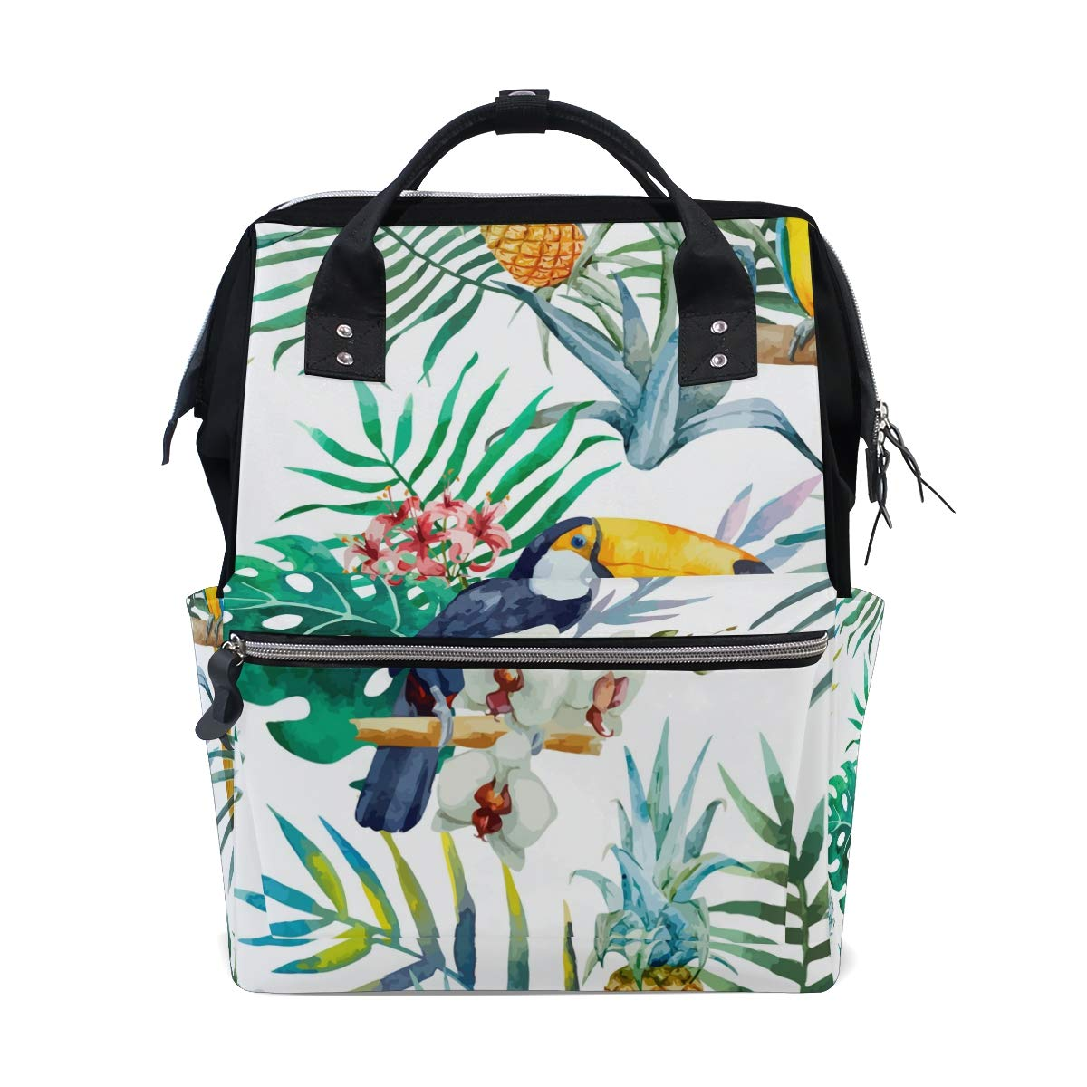 imobaby Tropical Floral Toucan Palm Leaves Changing Bags Large Capacity Handbags Canvas Shoulder Bag Backpack