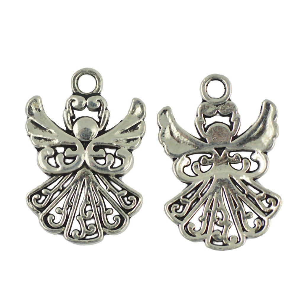 30 Stücke Tibetische Silber Engel mit Flügel Anhänger DIY Schmuck