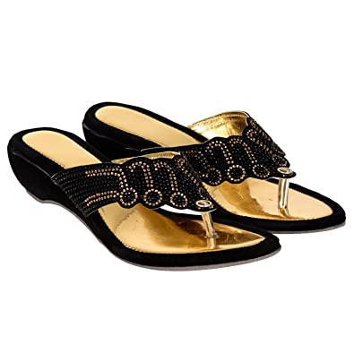 259b0a3aa ziesha Women Black Golden Party Wear Flats  Buy Online at Low Prices in  India - Amazon.in
