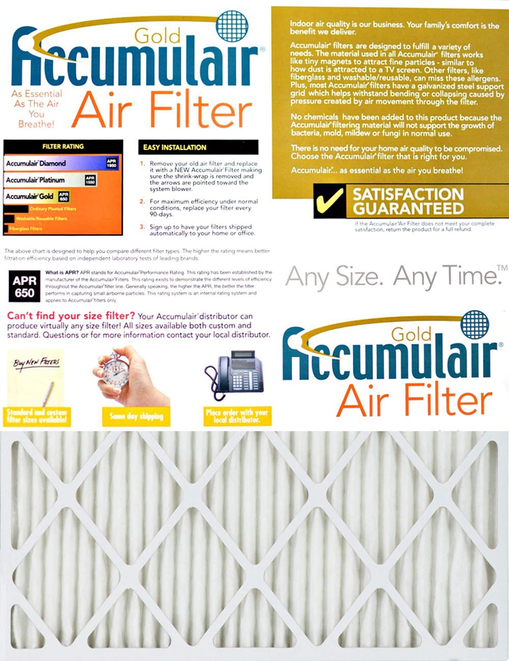 15.5x20.5 Accumulair Gold 16x21x1 MERV 8 Air Filter//Furnace Filter