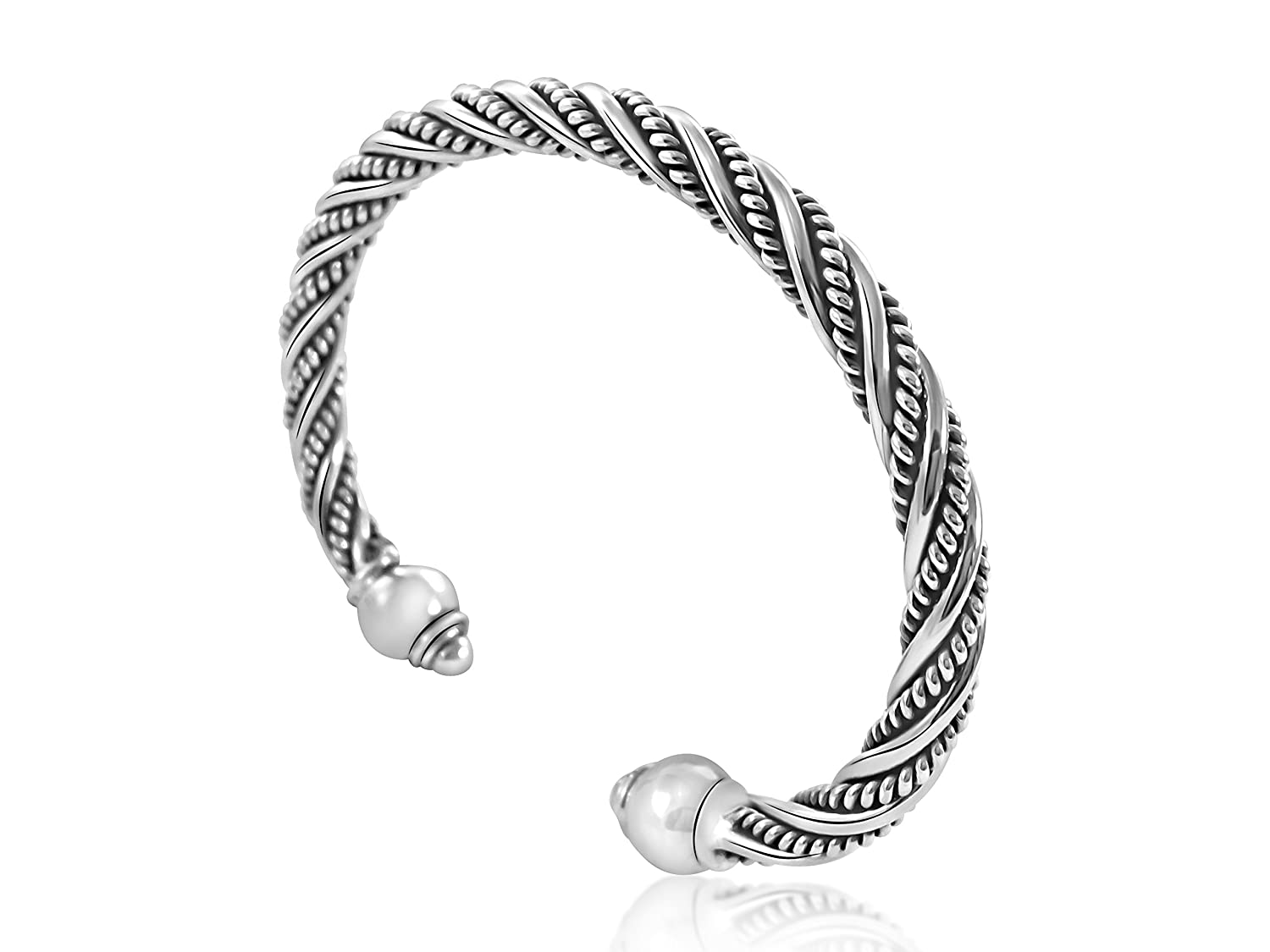 Alfred & Co. Jewellery Sterling Silver Bracelet Bangle Oxidized Torque Style with Bangle Box huv9B7NYEu