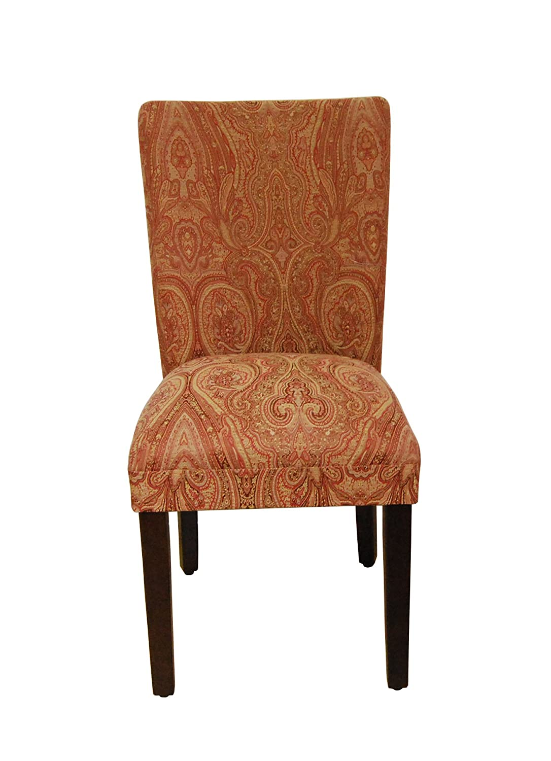 Amazon.com   Classic Parsons Chair Upholstery: Red /Gold Damask   Chairs