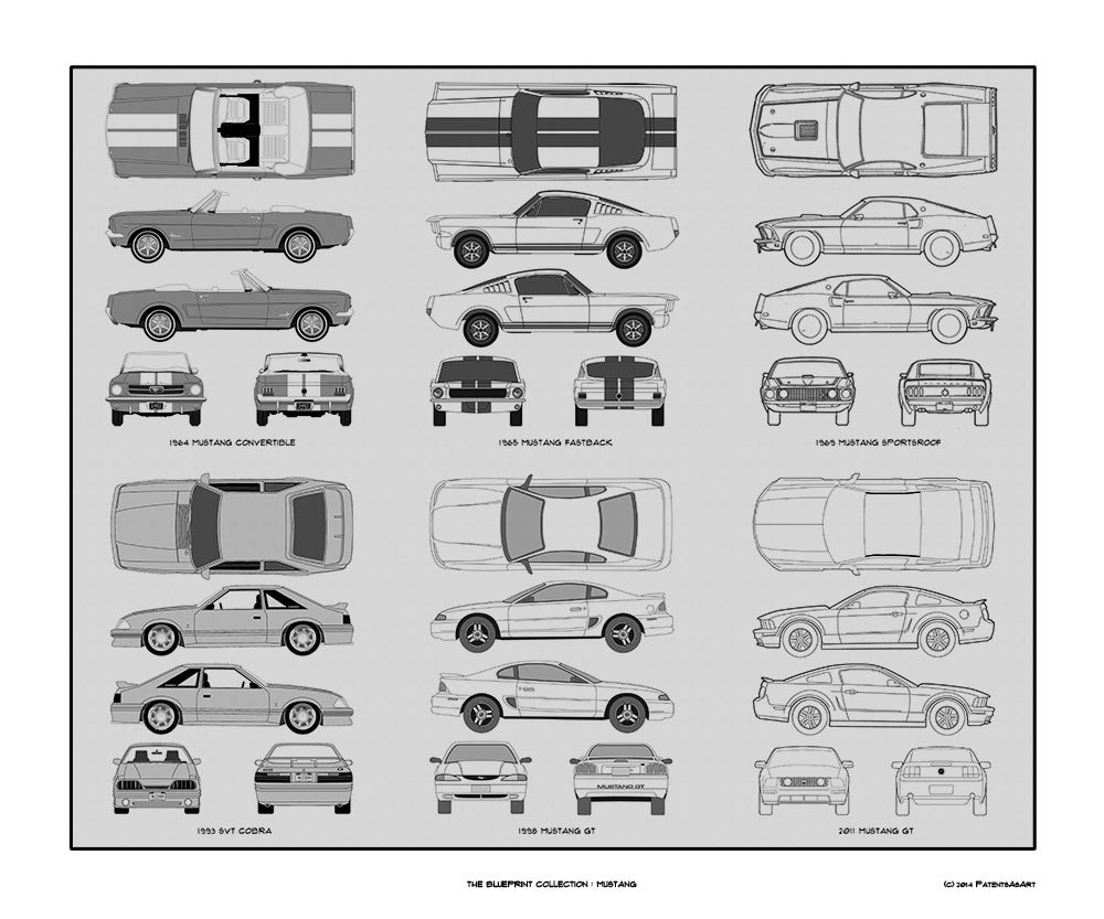 Amazon com ford mustang blueprint collection print car art gift 20x24 posters prints