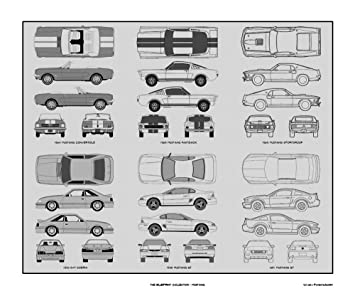 Amazon ford mustang blueprint collection print car art gift ford mustang blueprint collection print car art gift 20x24 malvernweather Image collections