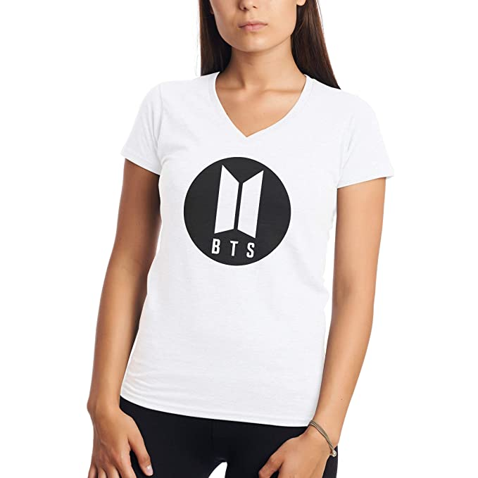 BTS Bangtang Boys Korean Pop Group In Circle Camiseta para Mujer con Cuello V: Amazon.es: Ropa y accesorios