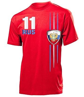 Russland Fanshirt Fan Shirt Tshirt Fanartikel Artikel Streifen 4312 Fussball Männer Herren T-Shirts Rot XXL