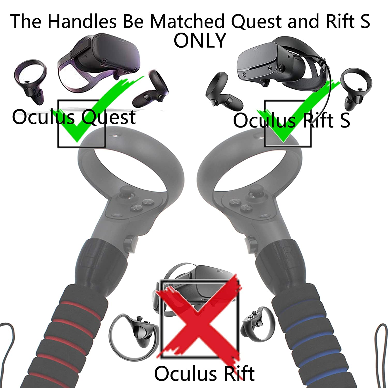 AMVR Dual Handles Gamepad for Oculus Quest or Rift S Controllers Playing Beat Saber Game