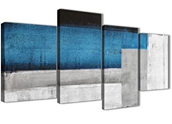 Groß, Blau Grau Gemälde Abstrakt Wohnzimmer Leinwandbild Bilder Decor U2013  4423u2013130 Cm Set