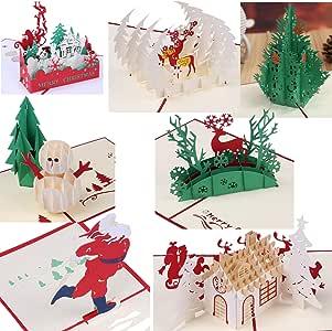3d Navidad tarjetas de felicitación Papercraft 7 Pack Vacaciones Pop Up Tarjetas de regalo: Amazon.es: Oficina y papelería