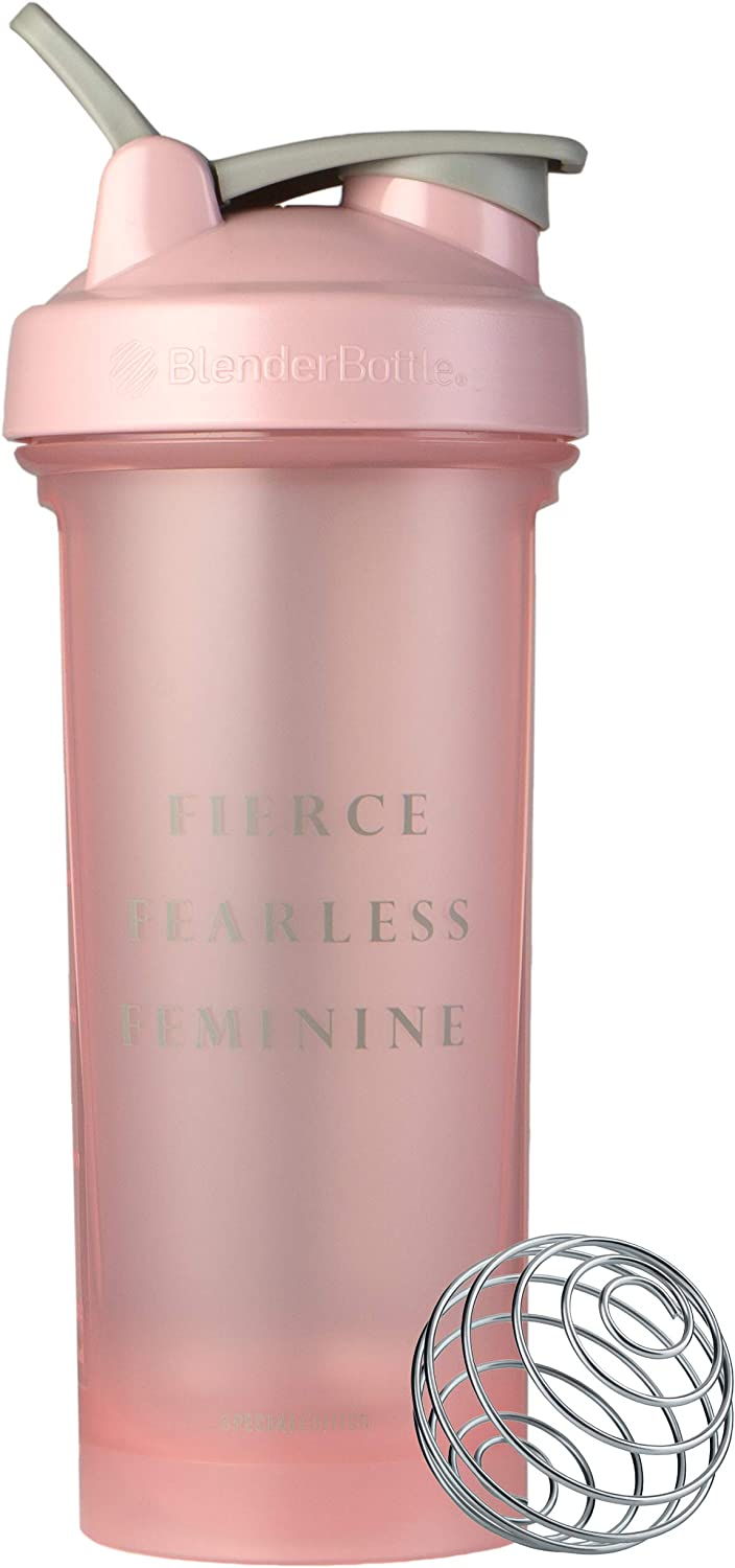 BlenderBottle Motivational Quote Classic V2 Shaker Bottle, 28oz, Fierce Fearless Feminine