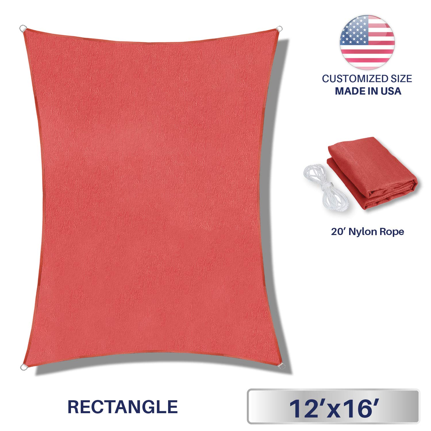 Windscreen4less 12'x16' Sun Shade Sail for Outdoor Patio Backyard UV Block Awning with Steel D-Rings Ruby Red Rectangle, Custom, 12ft x 16ft by Windscreen4less