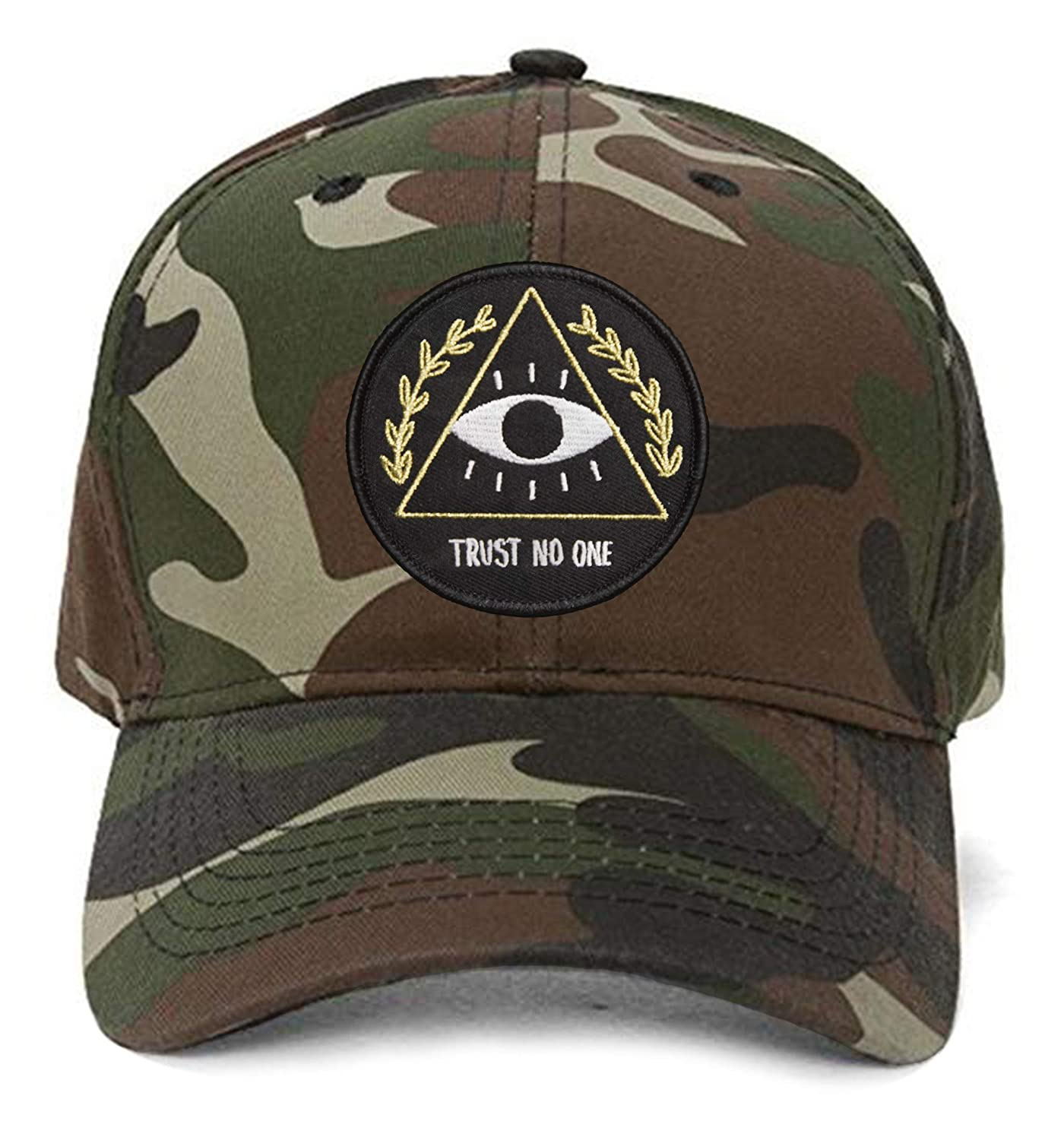 495fbcb41d25e Trust No One Hat - Men s Adjustable Cap All-Seeing Eye Pyramid (Black) at  Amazon Men s Clothing store