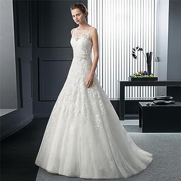 LUCKY-U Vestido De Novia, Vestido De Novia Vestido Largo Elegante Novia Casado Vestido