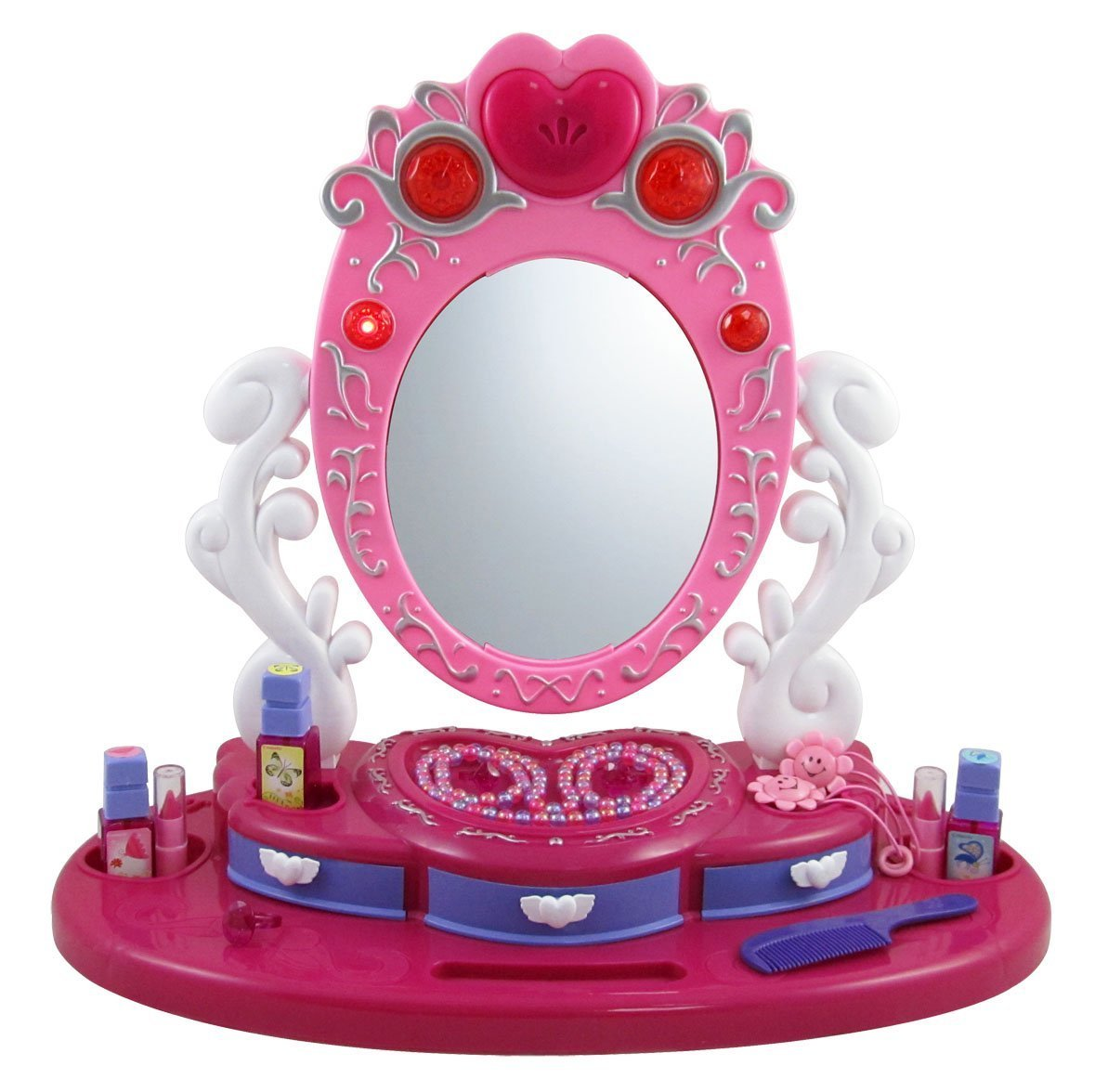 FunkyBuys® Girls Princess Glamour Mirror Dressing Vanity Table Beauty Play  Set Light & Music Toy: Amazon.co.uk: Toys & Games