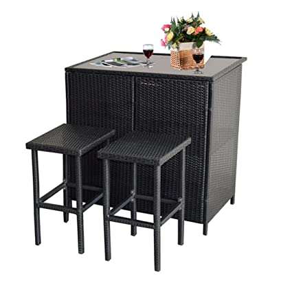 MCombo 3PCS Black Wicker Bar Set Patio Outdoor Table & 2 Stools Furniture  Steel 6088- - Amazon.com: MCombo 3PCS Black Wicker Bar Set Patio Outdoor Table & 2