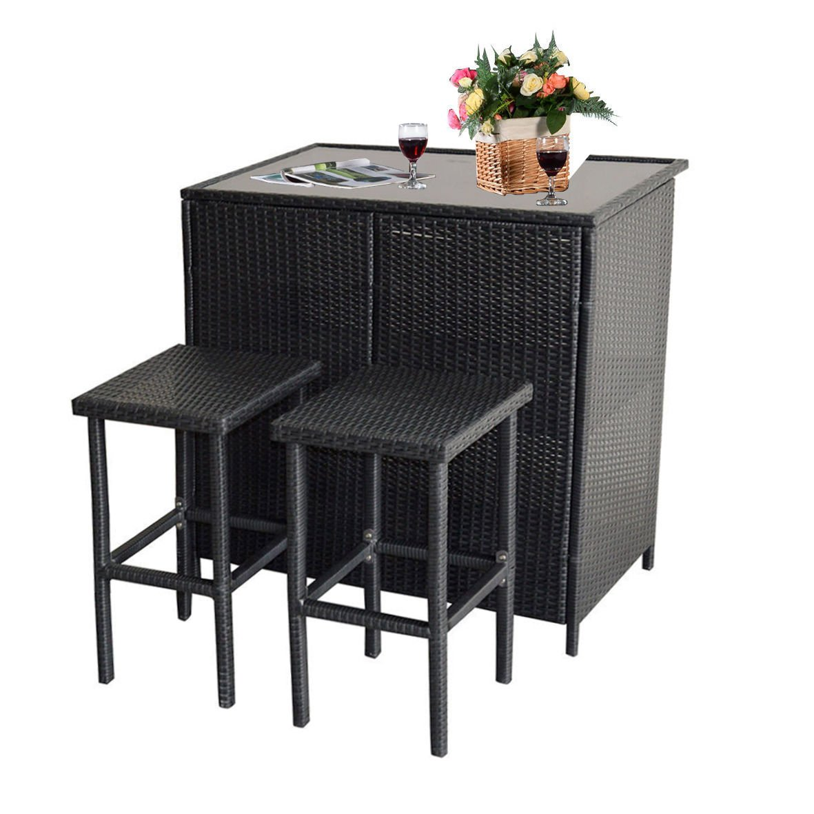 Mcombo 3PCS Black Wicker Bar Set Patio Outdoor Table & 2 Stools Furniture Steel 6088-1200