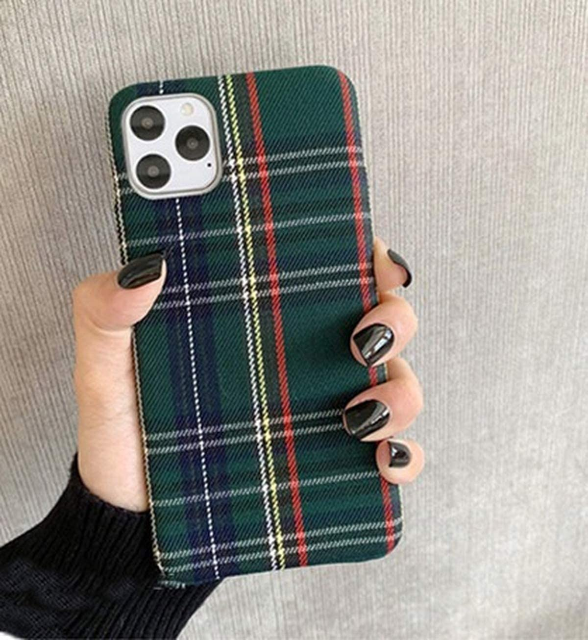 Mixneer Warm Flannel Plaid Cloth Phone Case Simple Plush Fabric Phone Case Compatible with iPhone 11 12 Mini Pro Max SE 2020 7 8 6 6S Plus XR X XS Cover (Compatible with iPhone xr, Green)