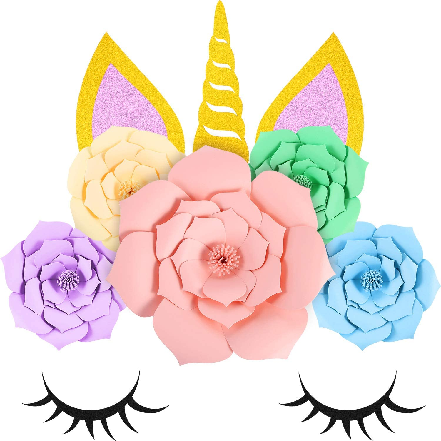 Jetec Unicorn Shape Backdrop Party Favor Paper Flowers Wall Decor with Glitter Large Horn Ear Eyelashes for Girl Birthday Wedding Party Baby Shower