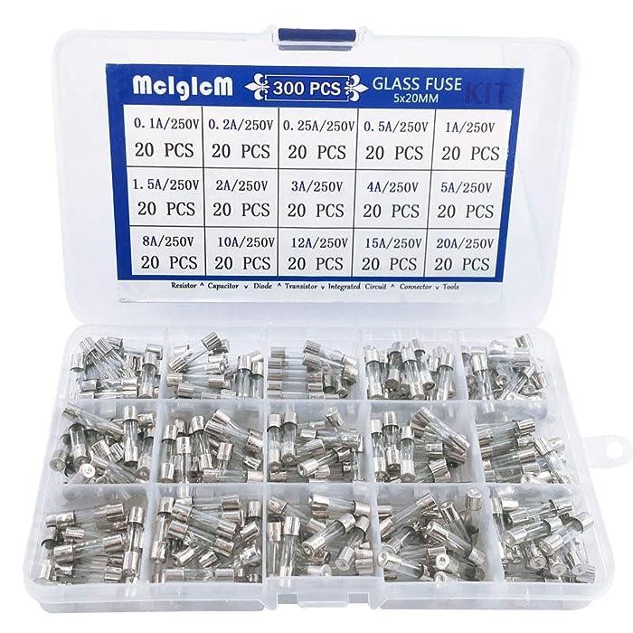 300 Pcs MCIGICM 5 x 20mm Fast-Blow Glass Fuses Assorted, 125V/ 250V 0.1A/ 0.25A/ 0.2A/ 0.5A/ 1A/ 1.5A/ 2A/ 3A/ 4A/ 5A/ 8A/ 10A/ 12A/ 15A/ 20A Tube Fuses, 15 Values