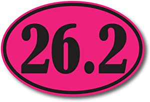 26.2 Marathon Pink and Black Oval Car Magnet Decal Heavy Duty Waterproof