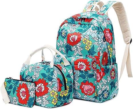 Beautiful bag-hpq Mochila Escolar Chica Linda Set De Mochilas con Bolsa del Almuerzo Y Estuche De LáPices para NiñAs Infantil Adolescentes Las Mujeres Viaje Bolso 3 En 1 Casual Backpac,Verde: Amazon.es: Deportes