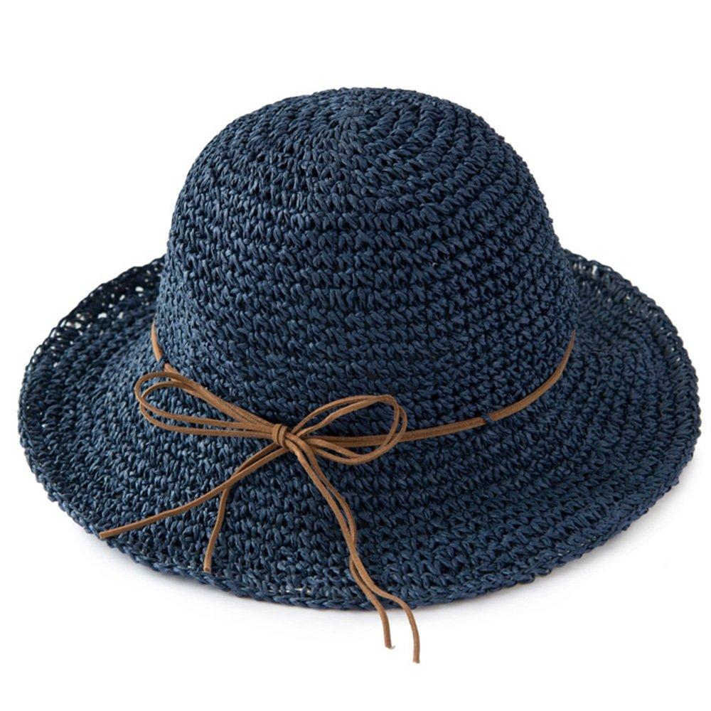 SJJL Hut-weiblicher Sommer-Farbton-Sonnenschutz-Hut-Faltbarer Strand-Hut Hand-gesponnener Sun-Hut