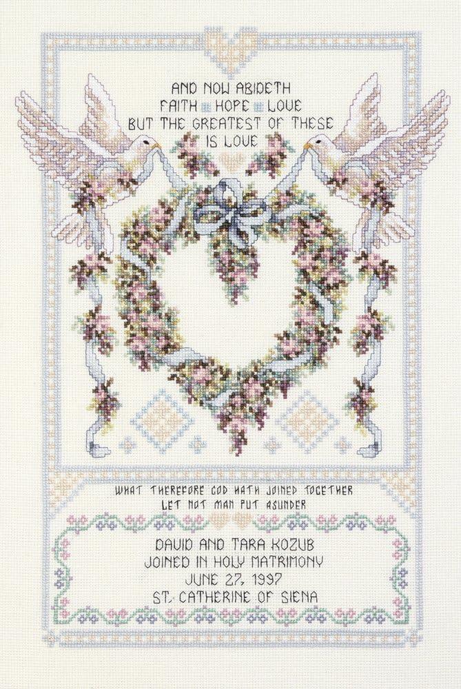 Wedding Doves 17-Inch by 12-Inch Janlynn Cross Stitch Kit
