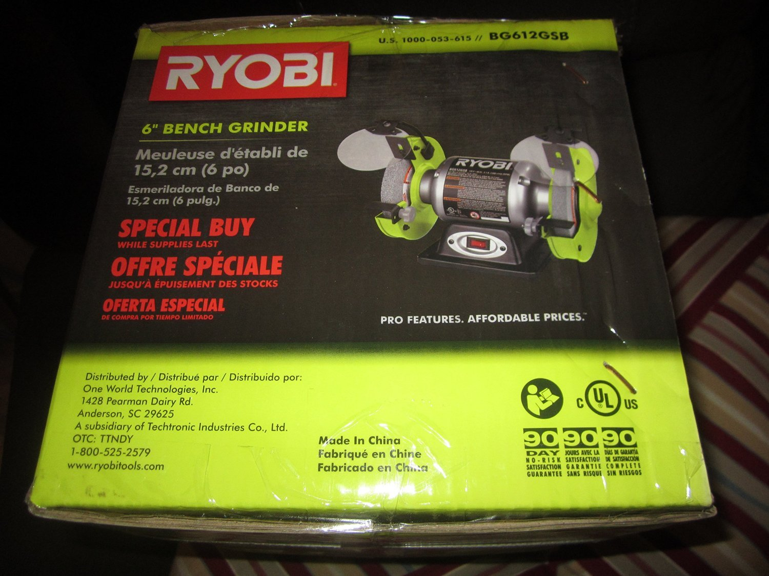 Phenomenal Ryobi 6 In Bench Grinder Bg612Gsb Gmtry Best Dining Table And Chair Ideas Images Gmtryco