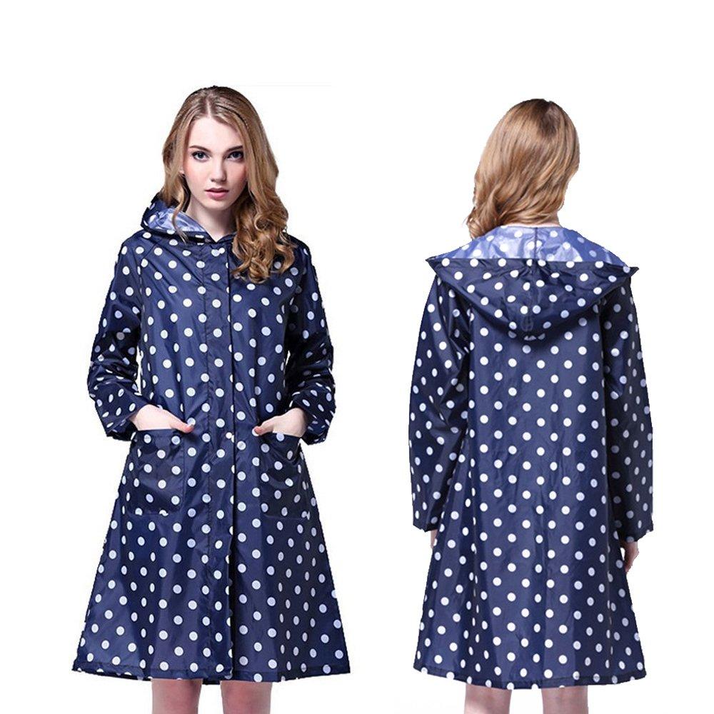 YOUDirect Womens Raincoat - Packable Women's Rain Jacket Lightweight Rainwear Hooded Waterproof Outdoor Rain Cape with Hat Hood for Outdoor Travel