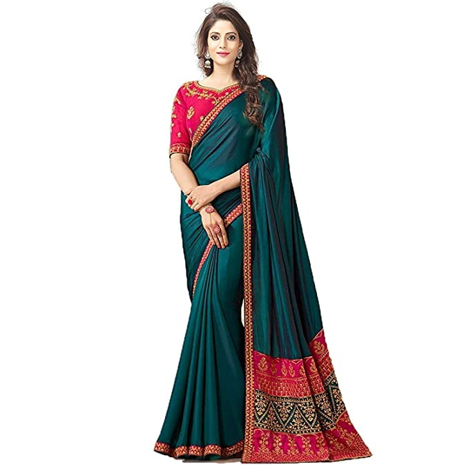 7b6889b61a0aa2 Vaidehi Women s Peacock Blue Embroidery Silk Saree  Amazon.in  Clothing    Accessories