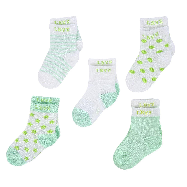 Baby Socks Newborn Infant Boys Girls Cute Unisex Cotton Crew Sock 5 Pack