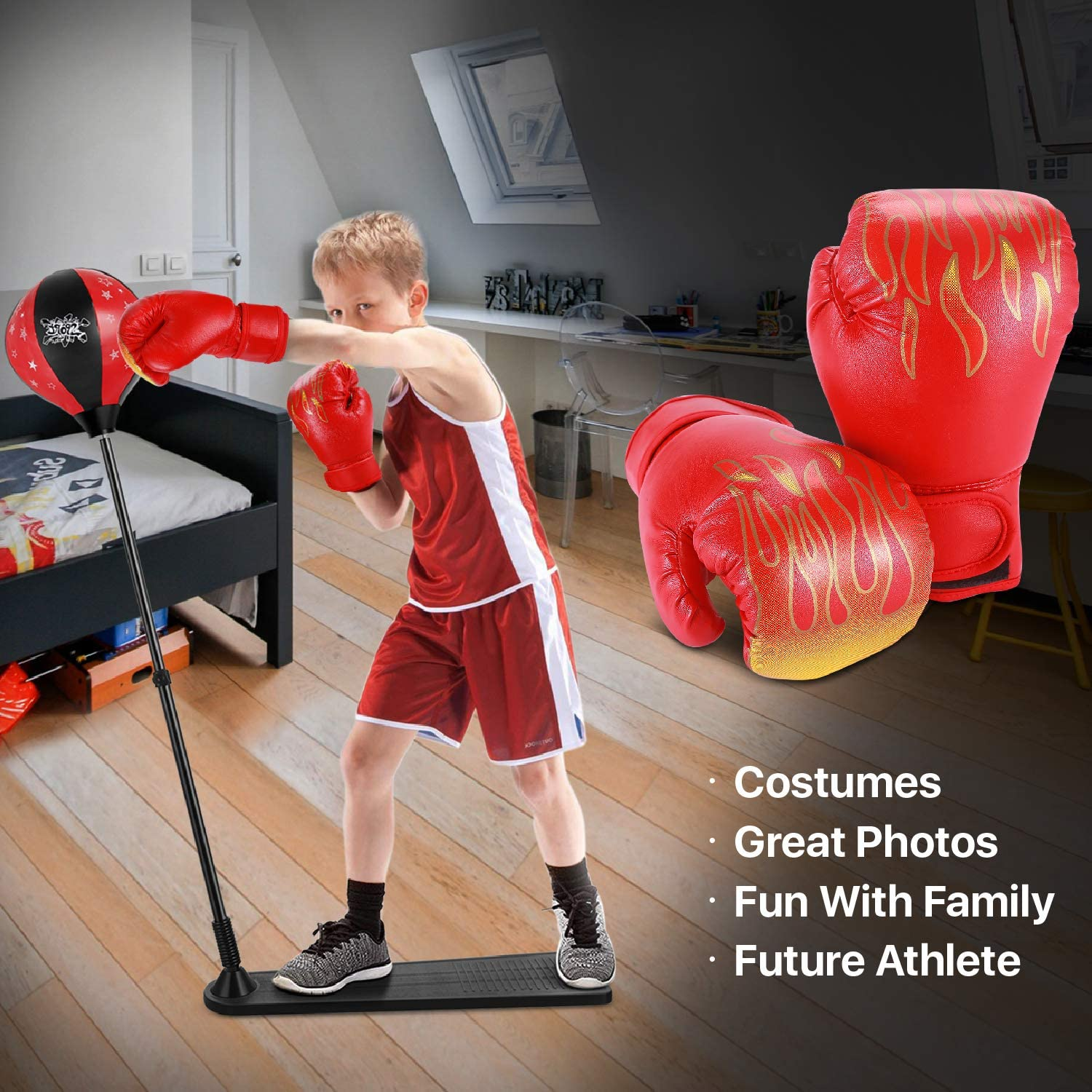 UFC Sparring Kickboxing Sandbag Sports Fitness Exercise Equipment Boys Children Flexzion Kids Boxing Gloves for 3-8 Ages All-Purpose Training Punching Bag Mitts w//Wrap-Around Support Red Blaze