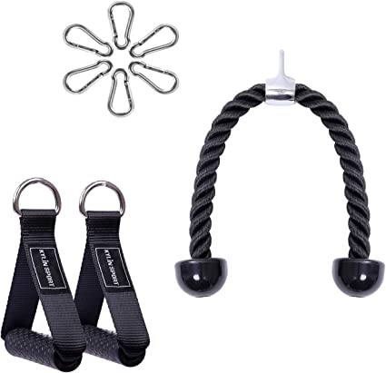 New Tricep Ropes Pull Down Rope Cable Attachment Handle Gym Multigym Home F1J1