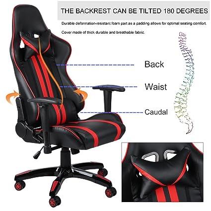Silla de escritorio Swepid, silla de carreras, silla de oficina, silla de escritorio con reposabrazos, con reposacabezas y cojín LED, con función de ...