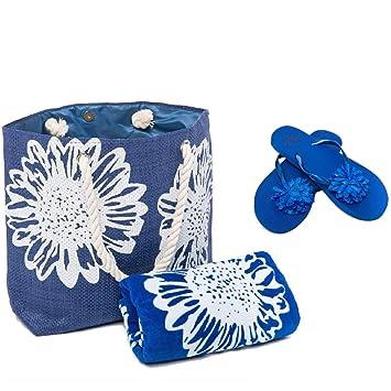 Bolsa de Playa para Mujer + Toalla de Playa + Chanclas 3 Piezas Floral Airee Fairee: Amazon.es: Equipaje