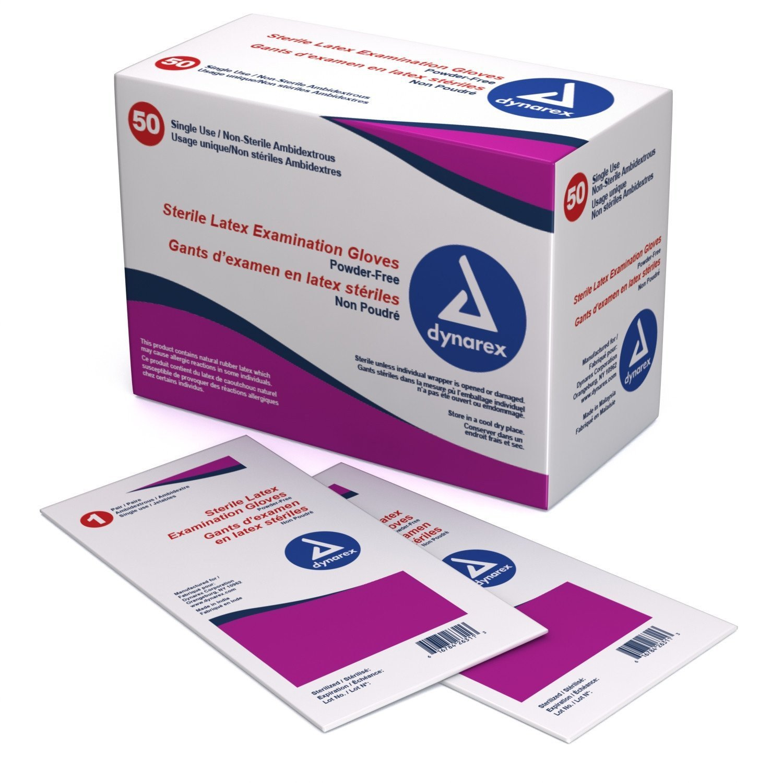 Dynarex 2453 Sterile Latex Exam Glove (Pairs) PF- Lg 8/50/Cs