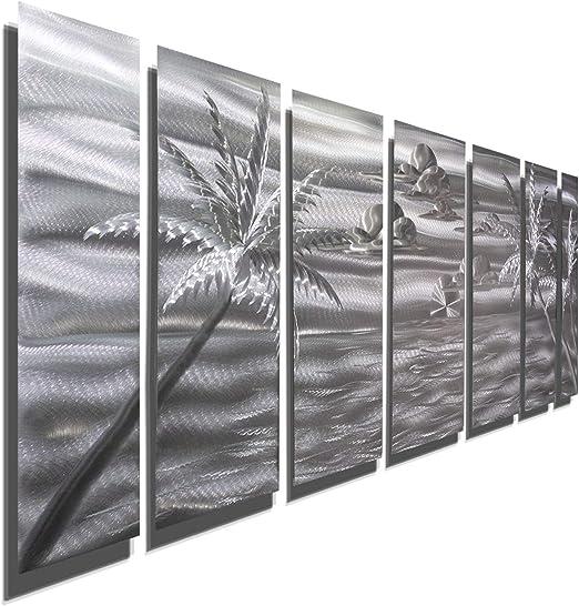 Modern Silver Metal Wall Sculpture Tropical Art Signed Original by  Jon Allen