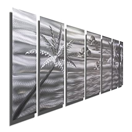 Amazon Com Large Silver Palm Tree Metal Wall Art 68 X 24