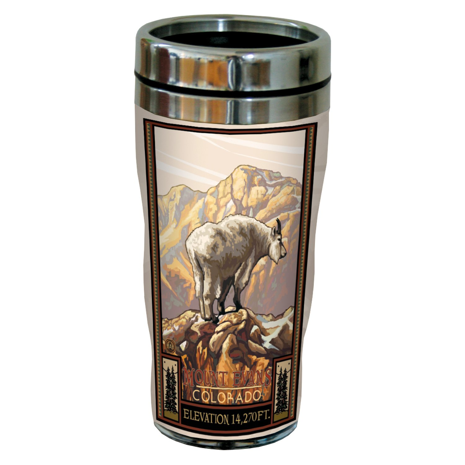 Tree-Free Greetings sg23274 Vintage Colorado Mountain Goat by Paul A. Lanquist Stainless Steel Sip 'N Go Travel Tumbler, 16-Ounce, Multicolored